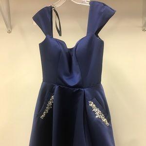 Sherri Hill 53211 SZ 4 Navy Cap Sleeve Short Dress